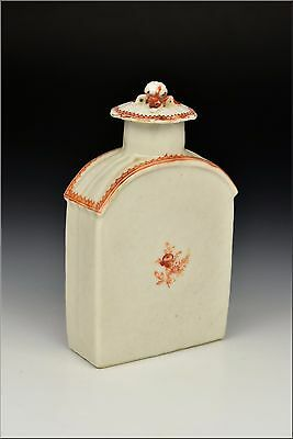 18th Century Chinese Export Porcelain Tea Caddy w/ Figural Flower