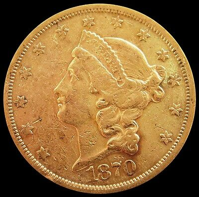 1870 S Gold Us $20 Liberty Head Double Eagle Coin Extremely Fine Condition