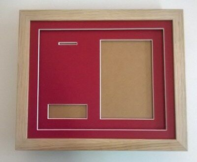 """Medal Frame- REAL WOOD-for 1 medal + title box + photo aperture 6x4"""""""