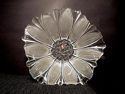 "Mikasa Walther-Glas Salad Serving Bowl 13"" Glass Susanna Satin Flower Germany"