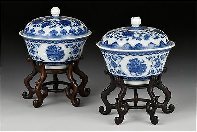 Pair of Qianlong Mark & Period Chinese Porcelain Covered Bowls  w/ Stands