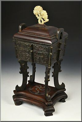 Signed 18th Century Chinese Bronze Footed Censor w/ Carved White Jade Finial