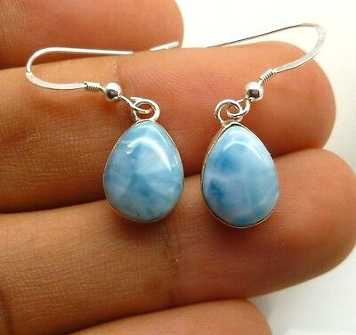 Larimar Dangle French Hook Dominican Earrings 925 sterling Silver Genuine Stone