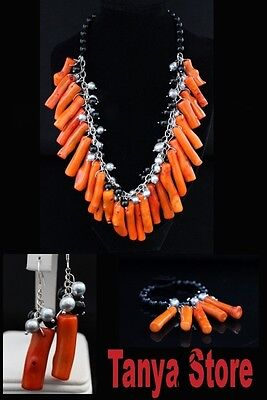 Natural Coral Branch , Grey Pearl , Onyx  Necklace Bracelet Earrings Jewelry Set