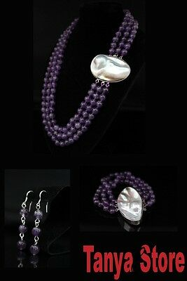 8Mm  Natural  Amethyst  Necklace  Bracelet Earrings Jewelry Set Mabe Pearl Clasp