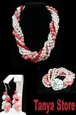 Natural Red Coral / White Pearl / Jade  Necklace Bracelet Earrings Jewelry Set