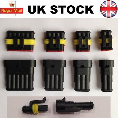 Electrical Waterproof Connector 1 2 3 4 5 6 Pin Way Superseal Car Boat Kit Clip