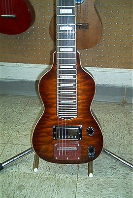 Dillion Non Pedal 6 String Lap Steel Guitar Quilted Maple Tiger Eye Finish