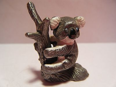 "PEWTER KOALA BEAR Sitting Tree Limb Removable Miniature Hand Painted 1.5"" NEW"