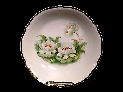 """Bowl 8.5"""" Vegetable Serving Signed Pond Water Lily Pads Porcelain China Germany"""