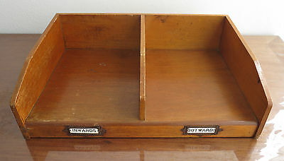Vintage Wooden Double Tray Desk File Industrial Style Suits A4 And Larger