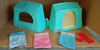 Fisher Price Loving Family Camping Tent 3 sleeping bags 1997