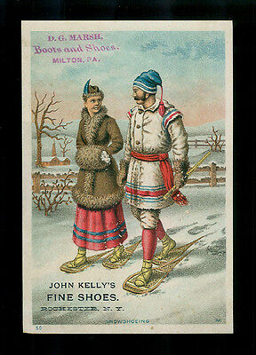Nordic Couple On Snowshoes-1880s Victorian Trade Card-Shoes