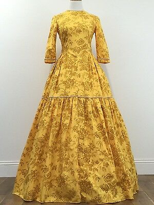 Civil War Reenactment Ladies Day Dress 3/4 Sleeve With Full Skirt Womens Size S
