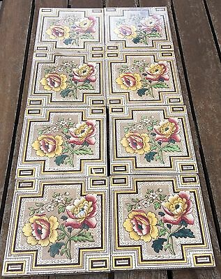 Complete Set Of 8 English Hearth Tiles C1891