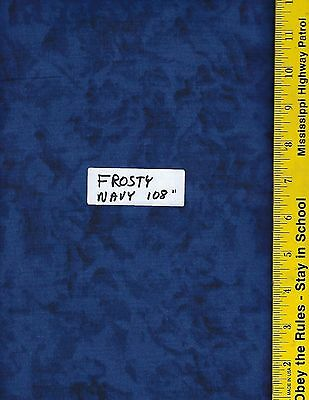 "108"" WIDE QUILT BACKING FABRIC: FROSTY  FRW-NAVY, 100% COTTON, By The Yard"