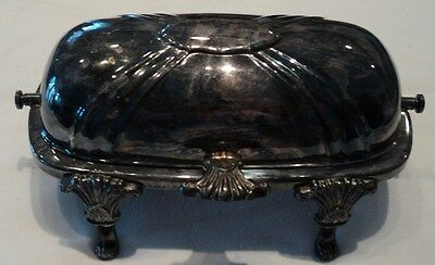 Vintage  Silverplate  dome  Butter  Dish  Glass  Insert