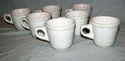 7 Vintage Buffalo China Coffee Cups Restaurant Ware Scalloped O Handle 1950s-60s