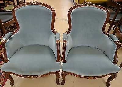 Antique Pair of French Louis V Style Bergeres Arm Chairs Carved Walnut Blue