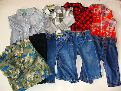 USED BABY BOY Carters Size Newborn 6-9 MONTHS Spring Summer CLOTHES LOT 9pc