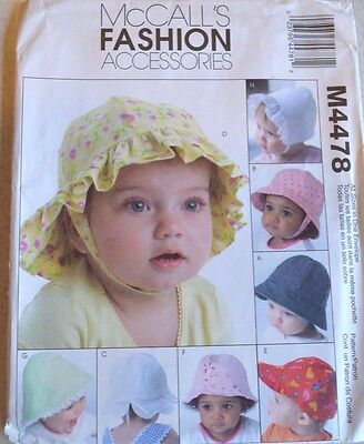 McCall's #M4478 Infant Hats Pattern Newborn to XLG Uncut Makes 8 Lined Hats