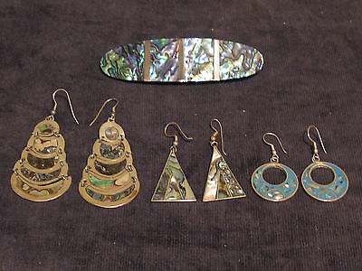 Vintage Alpaca Mexico Silver and Abalone Earrings and One Hair Clip – Lot of 4 P