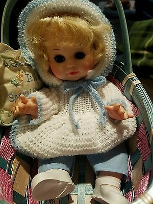 "Vintage 8"" Plastic Doll made in Hong Kong with stroller"