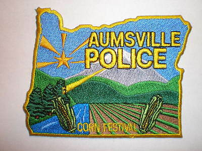 OR Oregon Aumsville Police patch CORN FESTIVAL STATE SHAPE
