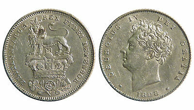 1828 Sixpence, George IV, Dies 2(identical to that of the currency half sovereig