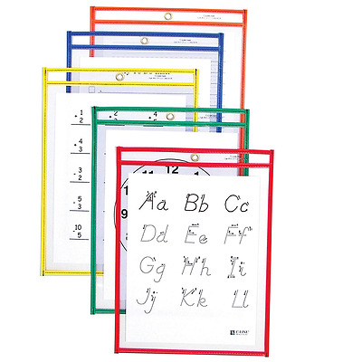 C-Line Reusable Dry Erase Pockets, 9 x 12-Inch, Assorted Primary Colors, 25-Coun