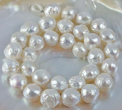 baroque  AAA 18'' 12-11MM NATURAL SOUTH SEA white  PEARL NECKLACE 14K