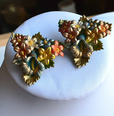 SIGNED GES.GESCH vintage painted celluloid earrings flowers bouquet multicolor