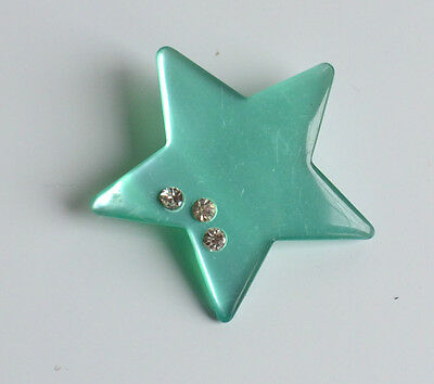 vintage sea green moonglow plastic star BROOCH PIN with ice clear rhinestones