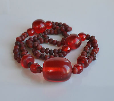 VINTAGE old tribal Moroccan Bedouin red dyed horn & translucent plastic necklace
