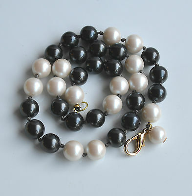 Vintage High End Faux Pearl Black & Cream Hand Knotted necklace 20 '' 12 mm