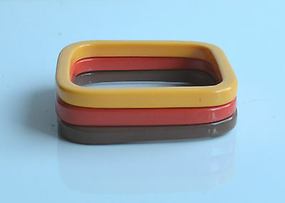 Vintage Lot 3 Pcs Plastic Bracelets Orange Red Brown Square Shape Stack