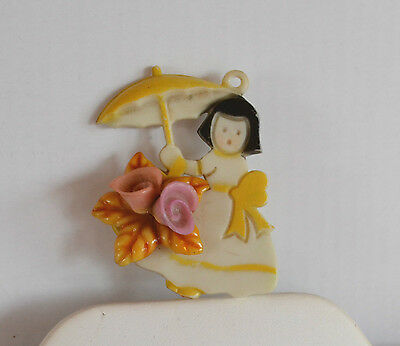 Ooak Art Deco Hand Carved Painted 3D Figural Girl & Umbrella Pendant Celluloid
