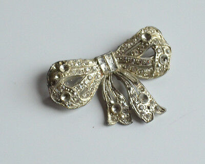 Art Deco pot metal bow brooch pin pave rhinestones vintage