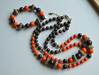 Vintage Set Signed AGATHA PARIS Necklace & Bracelet Resin Brown Orange Gold