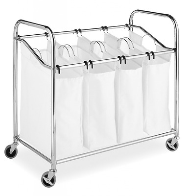 Whitmor 6097-3529-BB Chrome and Canvas Four Section Laundry Sorter