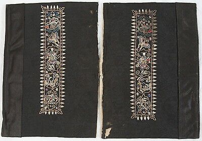 Antique Chinese Embroidered Sleeve Cuff Panel Pair Silk Embroidery Woman Pagoda