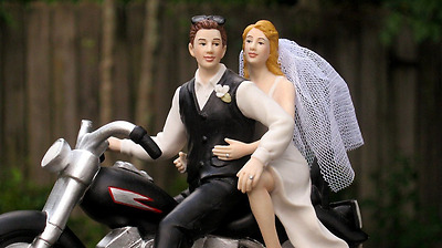Magical Day Motorcycle Biker Wedding Cake Topper