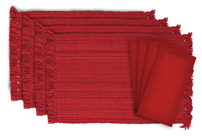 DII 100% Cotton, Tonal Linen Set - 4 Placemats & 4 Napkins, Tango Red