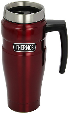 Thermos Stainless Steel King 16 Ounce Travel Mug with Handle, Cranberry
