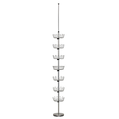Household Essentials Floor to Ceiling 6-Tier Revolving Shoe Tree with Basket, Si