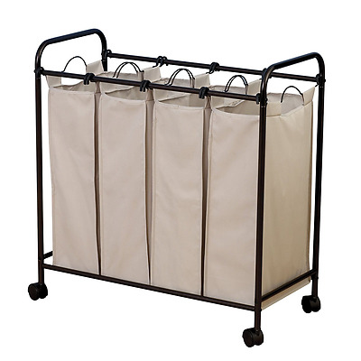 Household Essentials Rolling Quad Sorter Laundry Hamper with Natural Polyester B