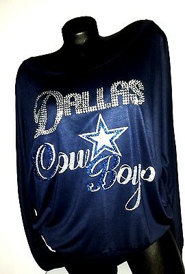 "Dallas Cowboys Navy Longsleeve Off The Shoulder Dolman Top~""Crystal Dallas"""