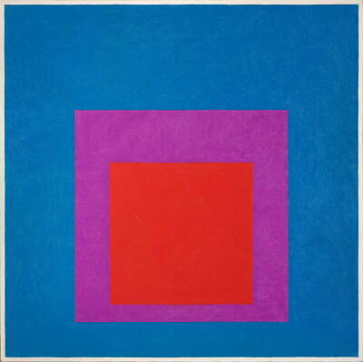 Josef Albers Homage to the Square Red Brass Giclee Canvas Print Paintings Poster