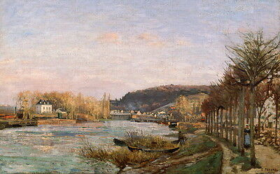 Camille Jacob Pissarro The Seine at Bougival Giclee Canvas Print Paintings Poste