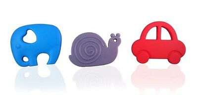 Teething Toy Set 3 Pack Elephant Snail & Car BPA Free Silicone Teethers For Baby
